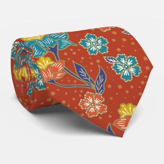 Red exotic Indonesian floral batik pattern Tie