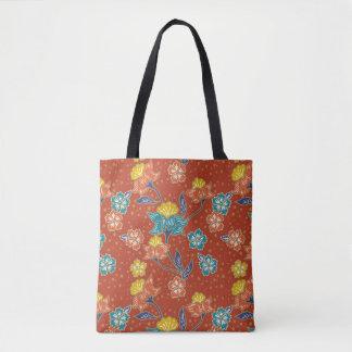 Red exotic Indonesian floral batik pattern Tote Bag
