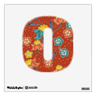 Red exotic Indonesian floral batik pattern Wall Decal