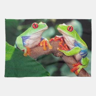 Red Eye Treefrog Pair, Agalychinis callidryas, Kitchen Towel
