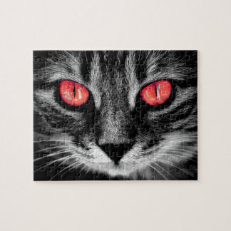 Red Eyed Cat Close Up Photo Portrait Jigsaw Puzzle