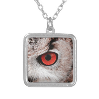 Red-Eyed Owl Silver Plated Necklace