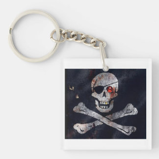 Red Eyed Skeleton Single-Sided Square Acrylic Keychain