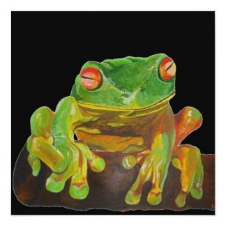 """Red Eyed Tree Frog. 5.25"""" Square Invitation Card"""