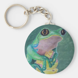 Red-eyed tree frog basic round button keychain