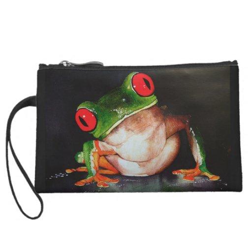 Red-eyed tree frog clutch wristlet clutch