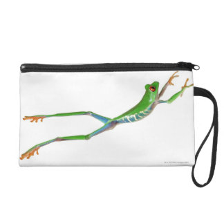 Red eyed tree frog jumping wristlet clutches