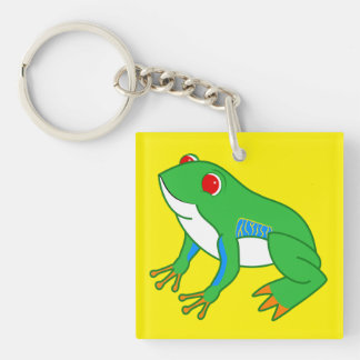 Red Eyed Tree Frog Single-Sided Square Acrylic Keychain