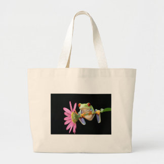 red eyed tree frog large tote bag