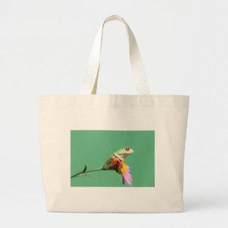 red eyed tree frog large tote bag