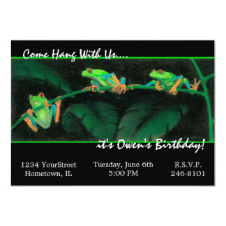 "Red-Eyed Tree Frogs 5"" X 7"" Invitation Card"