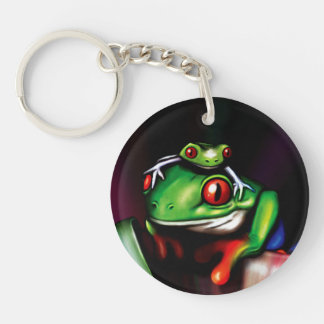 Red Eyed Tree Frogs Double-Sided Round Acrylic Keychain