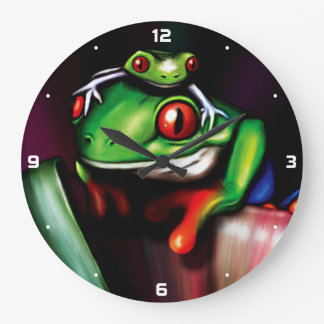 Red Eyed Tree Frogs Large Clock