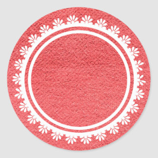 Red Fabric Texture with White Lace Round Sticker
