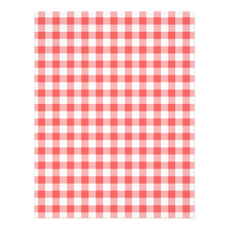 Red (Faded, Pale) and White Gingham Checks Customized Letterhead