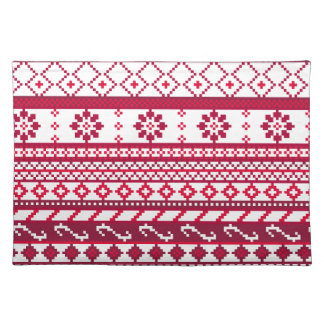 Red Fair Isle Christmas Pattern Place Mats
