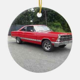 Red fairlane 289 sweet ride with racing wheels ceramic ornament