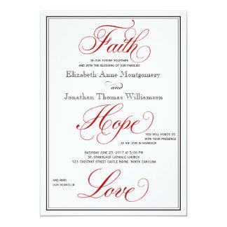 Red Faith Hope Love Calligraphy Wedding Invitation