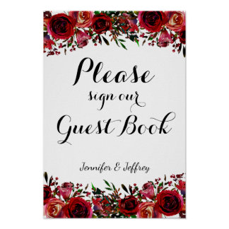 Red Fall Autumn Floral Wedding Guest Book Sign