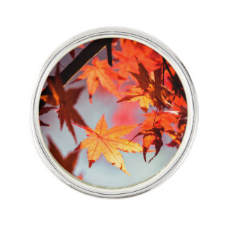 Red Fall Autumn Leaves Maple Tree Lapel Pin