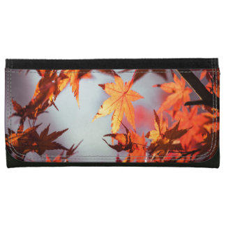 Red Fall Autumn Leaves Maple Tree Leather Wallet