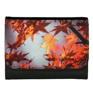 Red Fall Autumn Leaves Maple Tree Women's Wallets