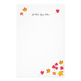 Red Fall Leaves Personal Note Paper