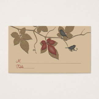 Red Fall Vines Birds Special Occasion Place Card