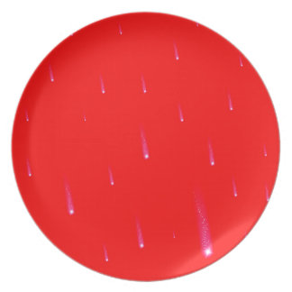 Red Falling Christmas Falling Stars Plate