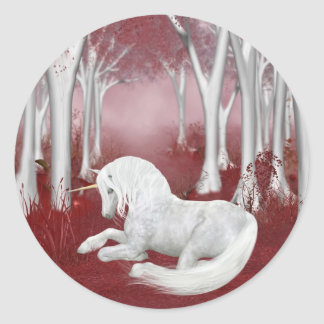 Red fantasy classic round sticker