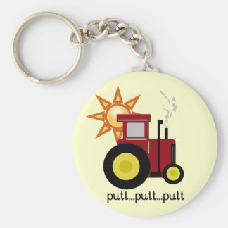 Red Farm Tractor T-shirts and Gifts Basic Round Button Keychain