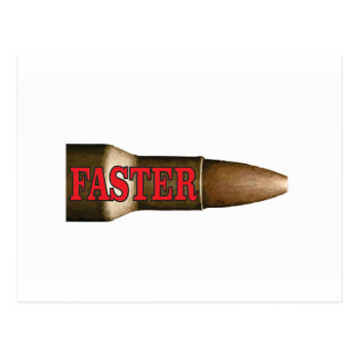 red faster bullet postcard