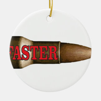 red faster bullet round ceramic ornament