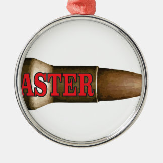 red faster bullet Silver-Colored round ornament