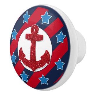 Red Faux Glitter Anchor   Nautical Ceramic Knob