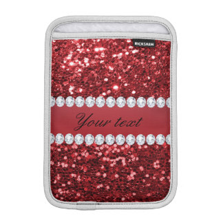Red Faux Glitter and Diamonds iPad Mini Sleeves