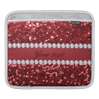 Red Faux Glitter and Diamonds Sleeve For iPads