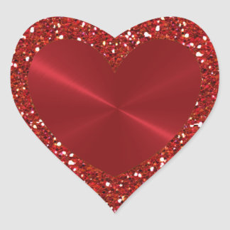 Red Faux Glitter and Heart Shaped Sticker