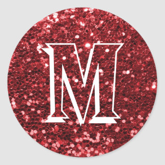 Red Faux Glitter Monogram Envelope Seal