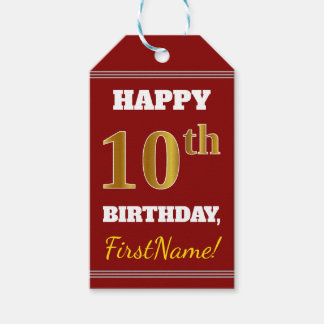 Red, Faux Gold 10th Birthday + Custom Name Gift Tags