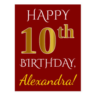 Red, Faux Gold 10th Birthday + Custom Name Postcard