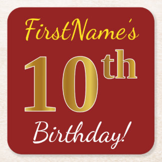 Red, Faux Gold 10th Birthday + Custom Name Square Paper Coaster