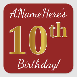 Red, Faux Gold 10th Birthday + Custom Name Sticker