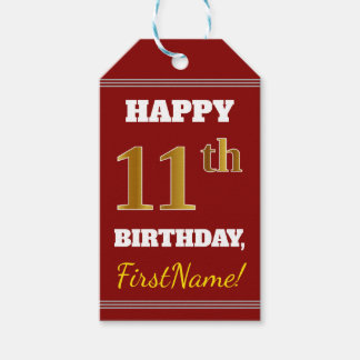 Red, Faux Gold 11th Birthday + Custom Name Gift Tags