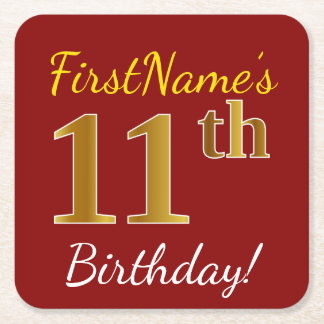 Red, Faux Gold 11th Birthday + Custom Name Square Paper Coaster