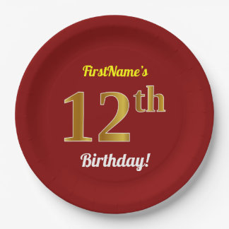 Red, Faux Gold 12th Birthday + Custom Name Paper Plate