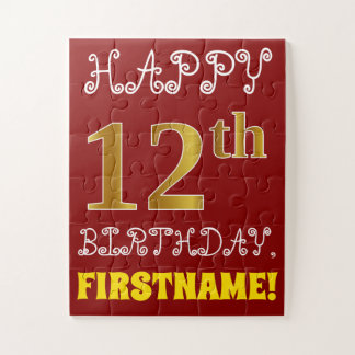 Red, Faux Gold 12th Birthday + Custom Name Puzzle