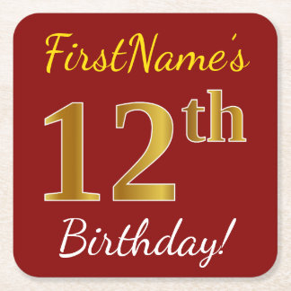 Red, Faux Gold 12th Birthday + Custom Name Square Paper Coaster