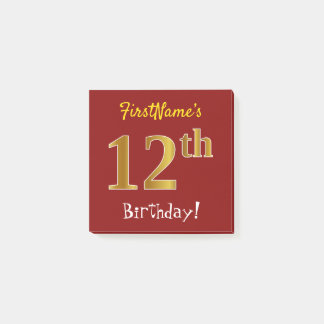 Red, Faux Gold 12th Birthday, With Custom Name Post-it Notes