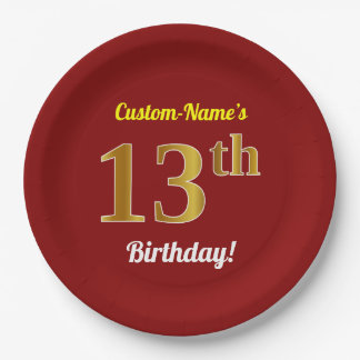 Red, Faux Gold 13th Birthday + Custom Name Paper Plate